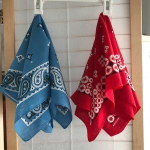Vintage bandana set. Red & sky blue 100% cotton.